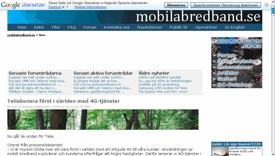 {gtr} Website und Übersetzungsleiste