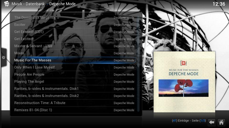 Musik, Alben eines Interpreten (Datenbankmodus)
