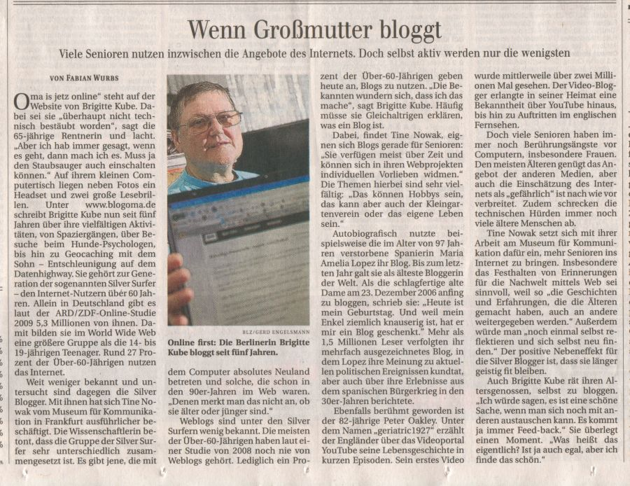 Blogoma Zeitungsartikel
