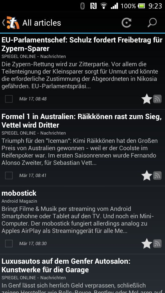 Tiny Tiny RSS Android App - Überschriften