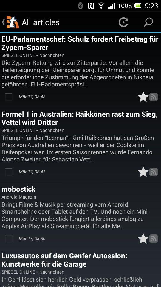Tiny Tiny RSS Android App - Überschriften