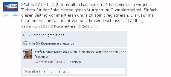 {rs2k} Verlosung bei Facebook