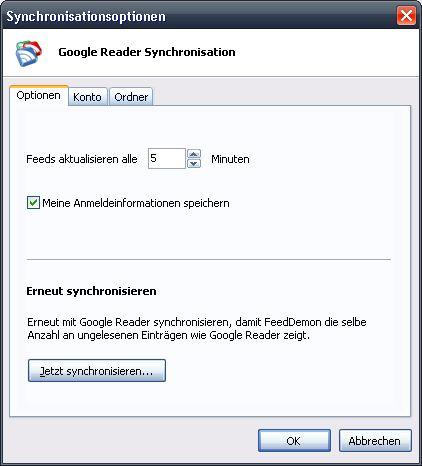 {fdr} FeedDemon Google-Optionen