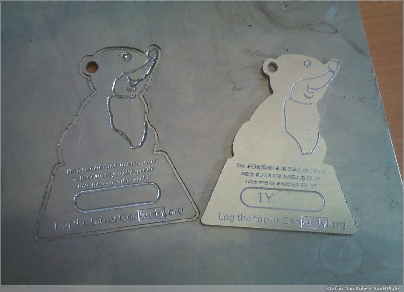 {gkp} Muster auf Stahl, Plakette aus Alu