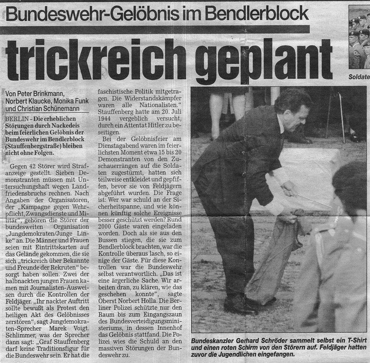Zeitungsartikel, Berliner Kurier 22. Juli 1999