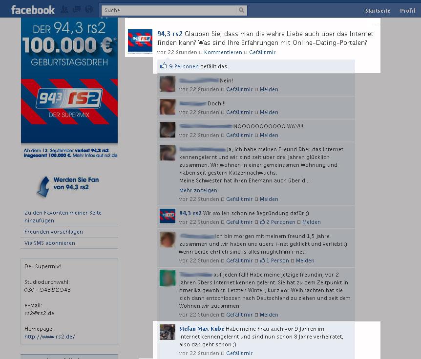 94,3 rs2 Fanpage auf Facebook