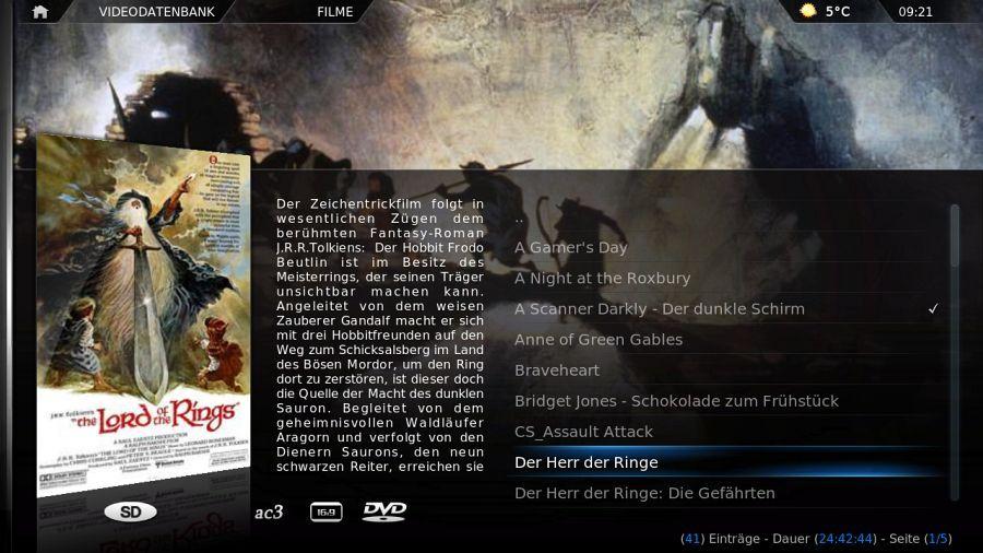 {xbmc} Film-Ansicht nach Titel