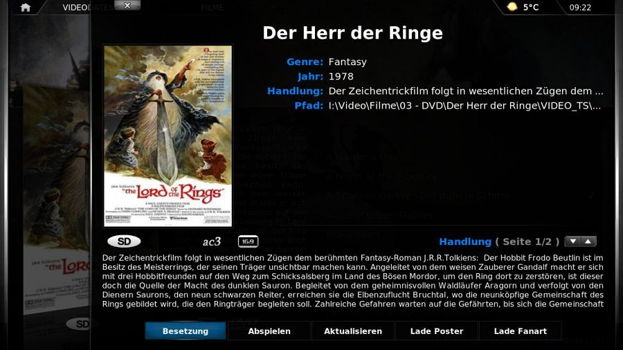 {xbmc} Filminformationen