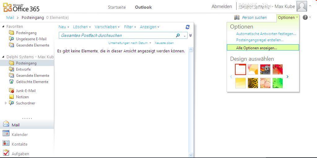 Office 365 - Alle Optionen anzeigen