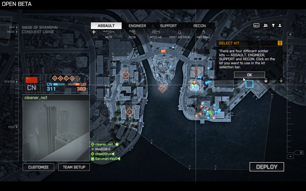 Karte, Einstiegspunkt wählen, Soldat anpassen