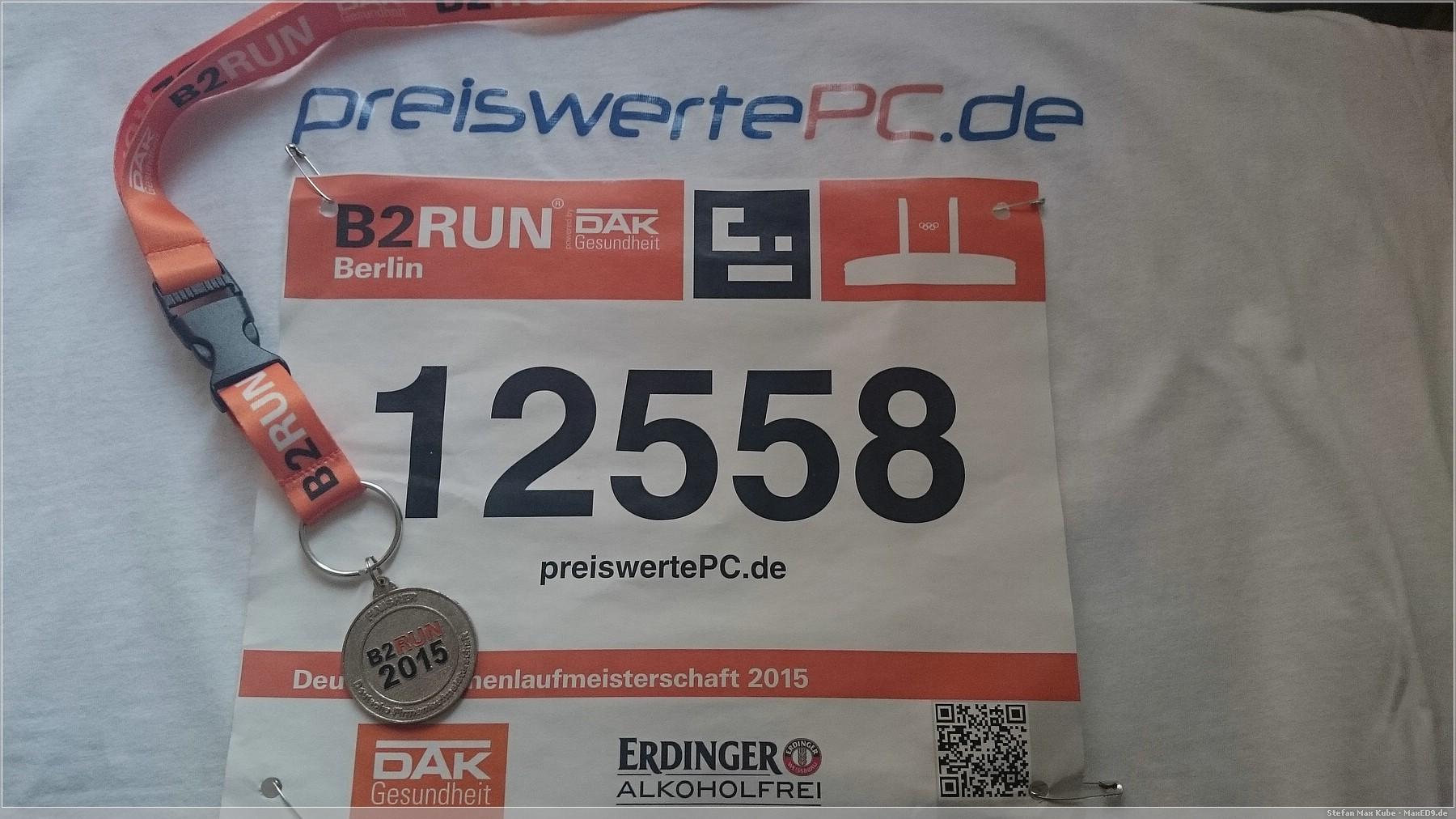 B2run Startnummer 12558, die Medaille