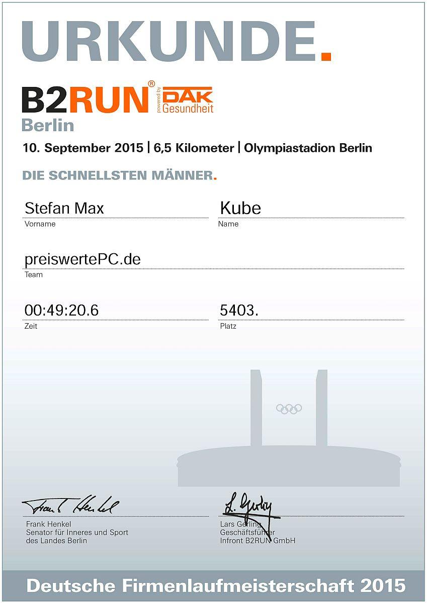 B2run Startnummer 12558, die Urkunde