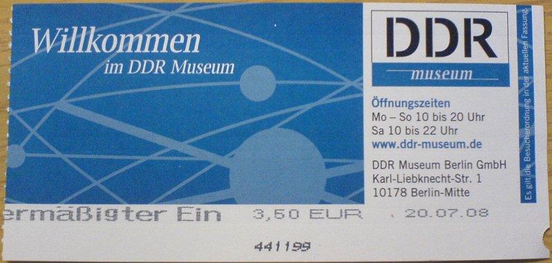 {muss} Eintrittskarte DDR-Museum