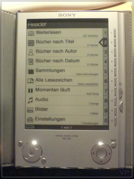 {prs} Ebook-Reader: Hauptmenü