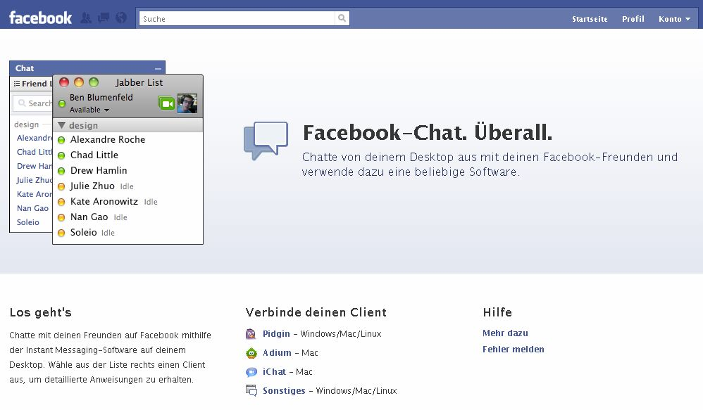 Facebook-Chat Tour
