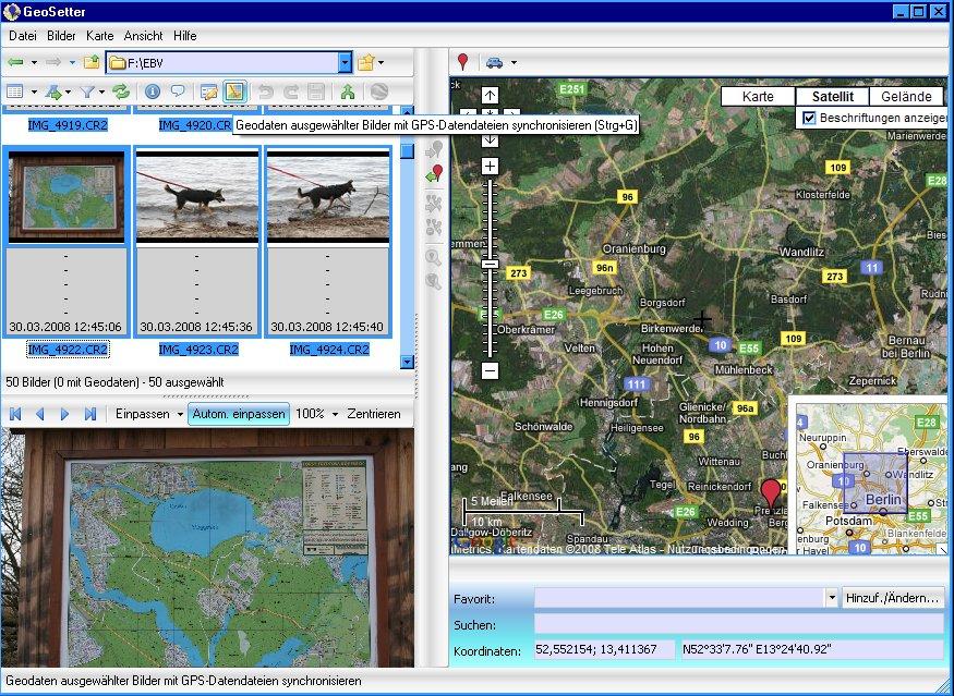GeoSetter - Schaltfläche Synchronisieren