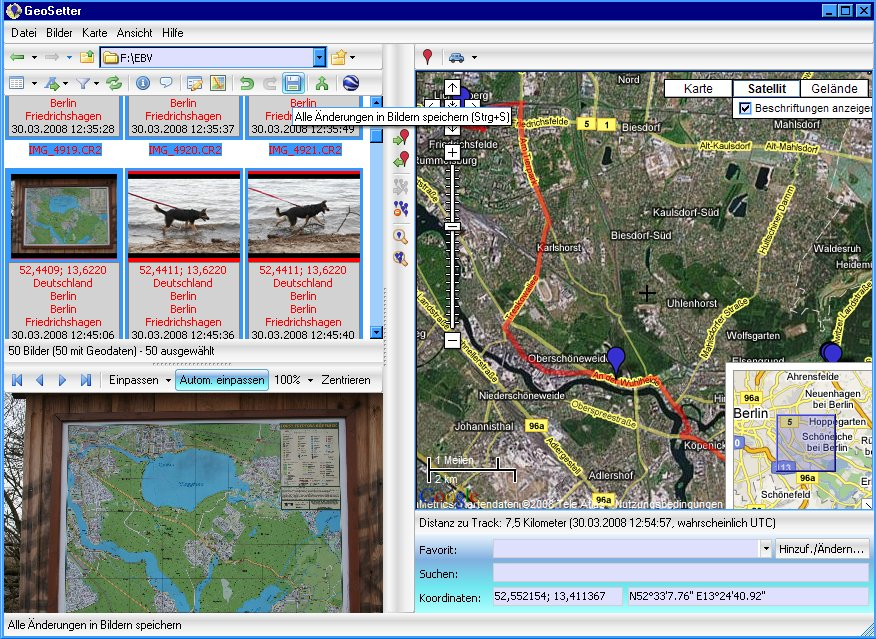 Ortsdaten und Trackansicht