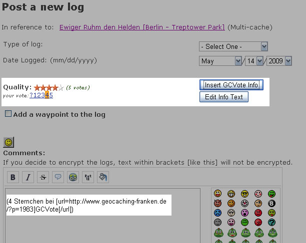 {gmsk} GCVote Log-Seite