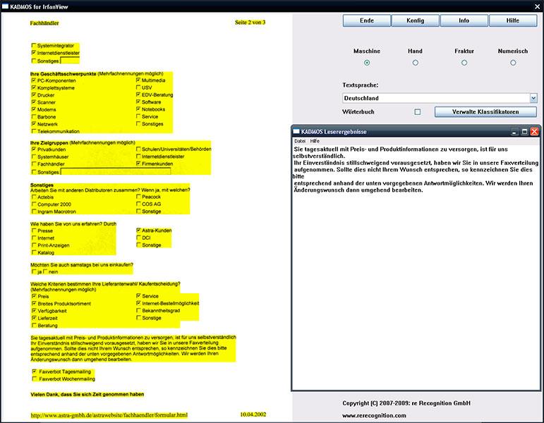 {iv} OCR - Pluginoberfläche zur Texterkennung