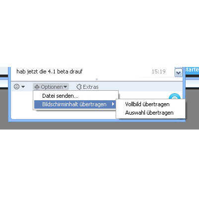 {skype} Screensharing Option im Chatfenster