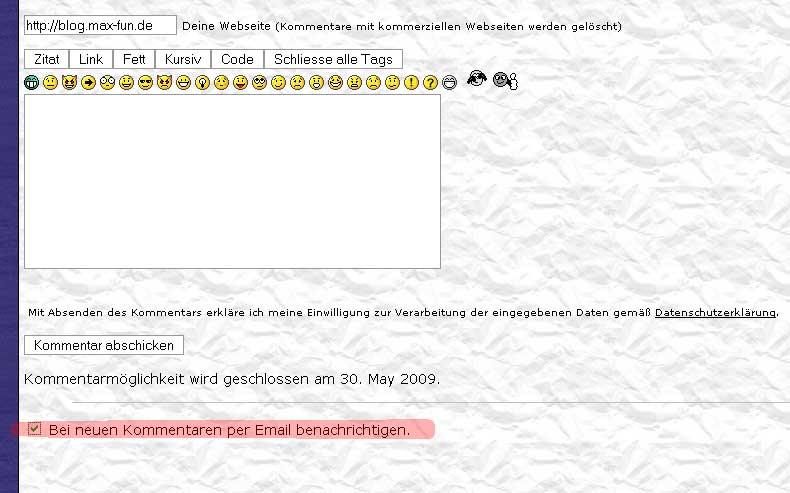 {help} Email-Benachrichtigung bei neuen Kommentaren