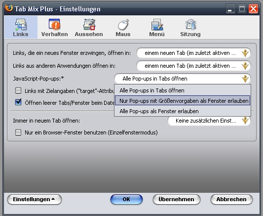 Tab Mix Plus Einstellungen