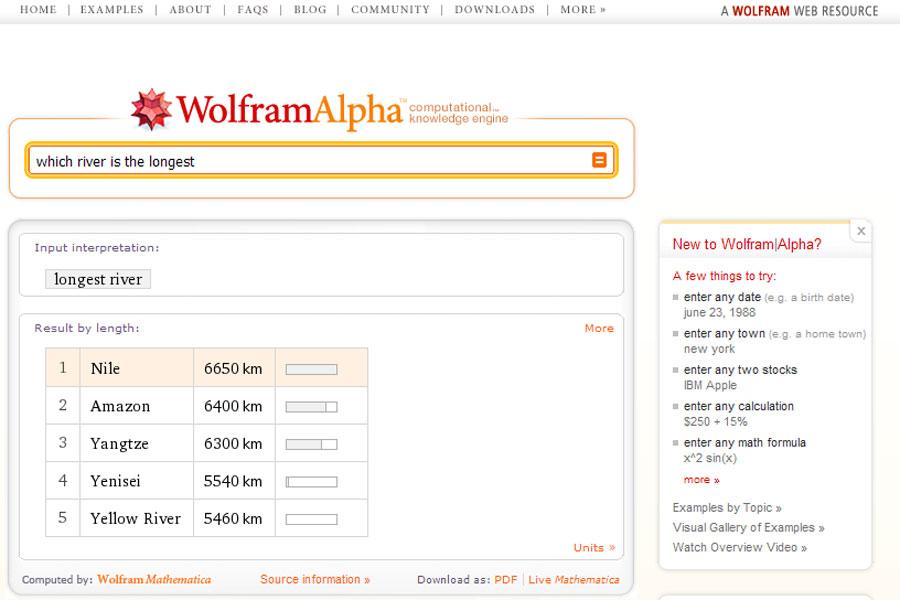 {wat} WolframAlpha - längster Fluß