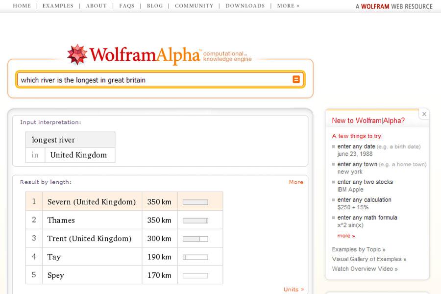 {wat} WolframAlpha - längster Fluß in Groß Britannien
